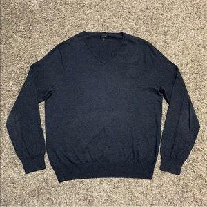 J Crew Mens Slim Fit V-Neck Sweater XL Dark Grey